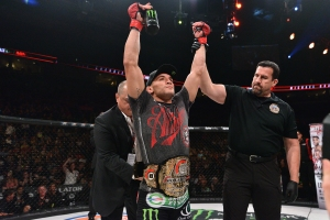 Michael Chandler celebrates Lightweight championship win.